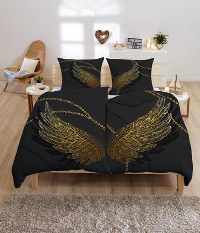 Gold-Line Bed - Bettwäsche Set - Anthrazit mit goldenen Engelsflügeln