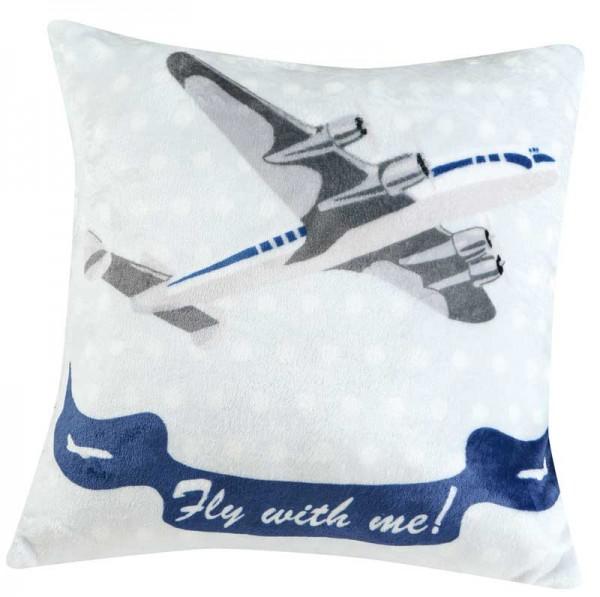 American Airways Zierkissen blau weiß 50x50cm von KBT Bettwaren