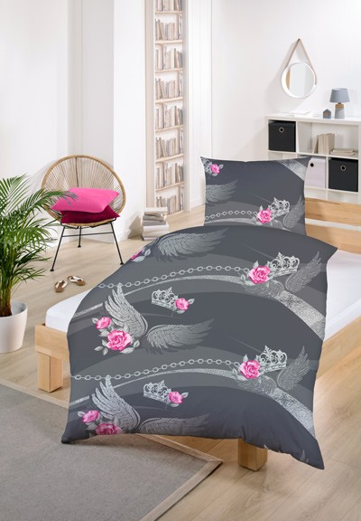 Gold-Line Bed - Bettwäsche Set - Grau mit rosa Rosen und Engelsflügel