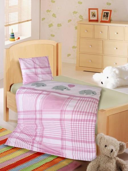 Süße Kinderbettwäsche mit rosa Elefanten Motiv