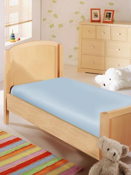 Baby Spannbettlaken in Jersey Qualität - hellblau