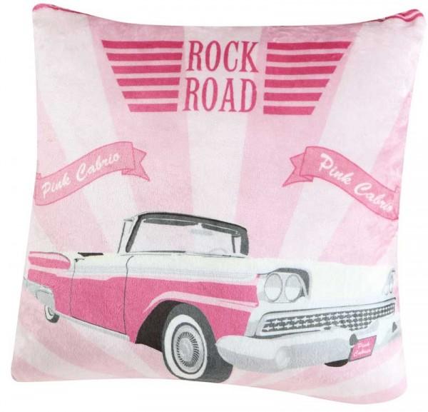 Cadillac Zierkissen pink weiß 50x50cm von KBT Bettwaren